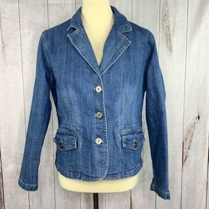 Chico's Platinum Blue Jean Jacket Size 1